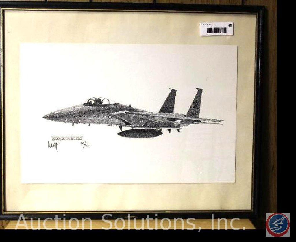 Framed Limited Edition Print, 446/ 1000 McDonald Douglas F-15A Eagle by Joe Milich 1980 - 21 x 17''
