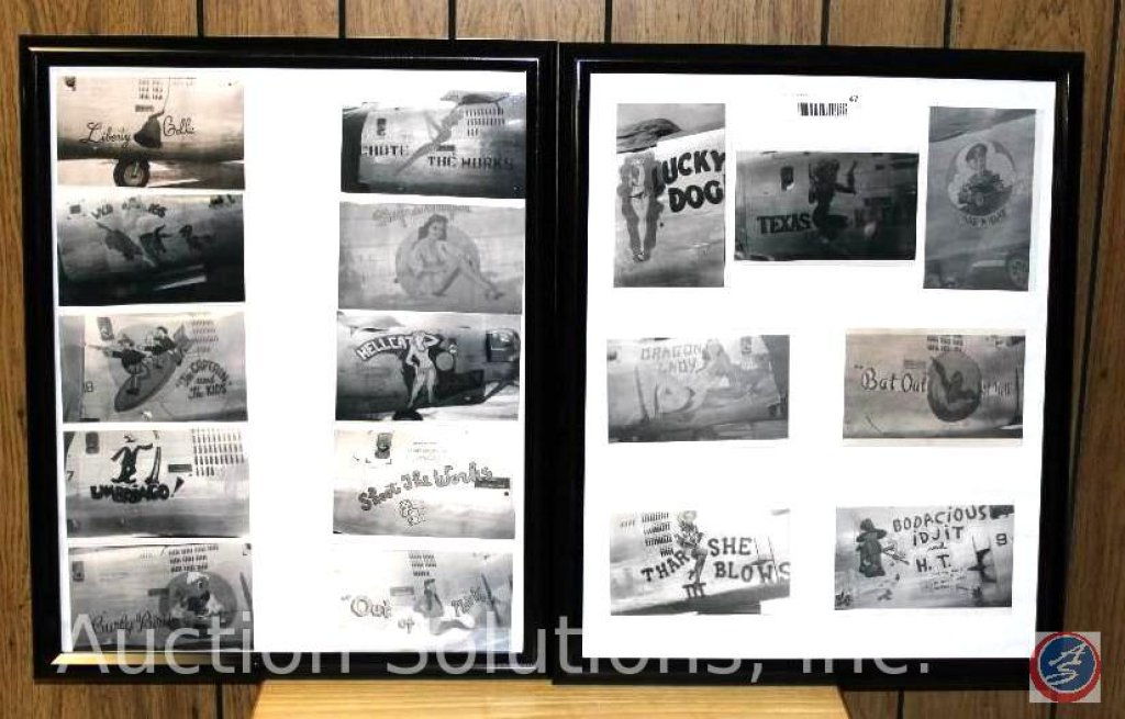 [2] Frames Army and Air Force Nose Art, [17] Individual Pictures - 17 x 21'' Copy Pictures of