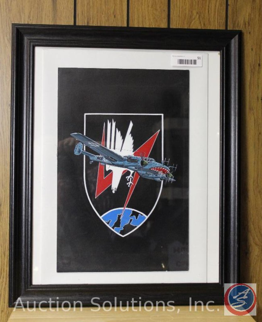 Framed WWII Messerschmitt - 23.5 x 19.5''