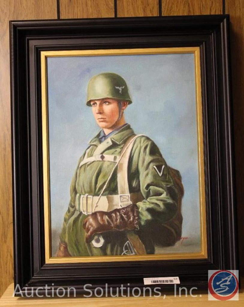 Oil Painting of Luftwaffe WWII Paratrooper, Professionally Painted by Moyse - 21 x 17''