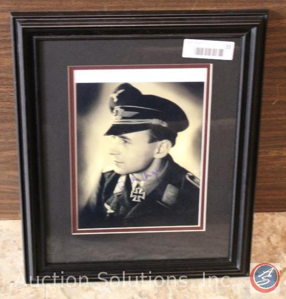 German Luftwaffe Officer Signed, Professionally Framed - 16.5 x 13.5''