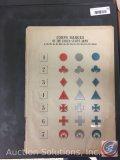 Framed Guide to Corps Badges Civil War 1 thru 7 - Measures 16 x 12'' Vintage Paper only (not framed)
