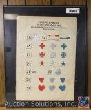 Framed Corps Badges Civil War 16 thru 24 - Measures 16.75 x 11.75'' Vintage Paper only (not framed)