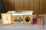 [4] Civil War Era Tin Type Photos in Decorative Holders