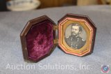 Civil War Era Tin Type Photo in Decorative Hinged Holder