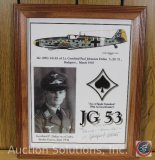 Me 109G-14/AS 'Ace of Spade Squadron' March, 1945 6+5 German Plane w/ Pilot, signed, Framed - 12.75