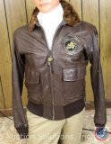 Leather USN Jacket Size 40, CBI China, India, Burma and Flying Tiger Patches, Blood Chit on Back