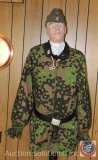 WWII German SS Dual Camouflage Smock, Cap and Iron Cross [Reproduction]