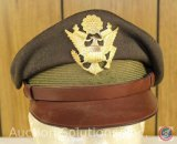 WWII US Army Air Forces Olive Drab Wool Crushers Officers Hat, Soft Bill Size 7 [Original]