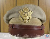WWII US Army Air Forces Khaki Soft Bill Crusher Cap, Size 7-1/8 [Original]