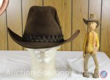 3x Beaver Brown Stetson Cowboy Hat Size 7-3/8; and a Little Carved Wooden Cowboy