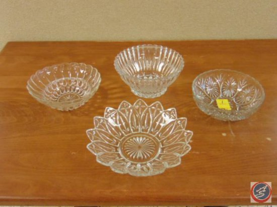 (4) decorative glass bowls
