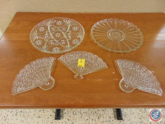 (2) decorative glass platters, (3) decorative glass fan shaped serving dishes