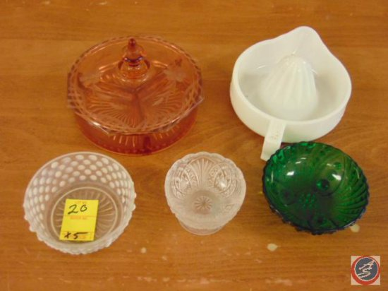 decorative glass candy dish with lid, (3) small decorative glass bowls, manual juicer