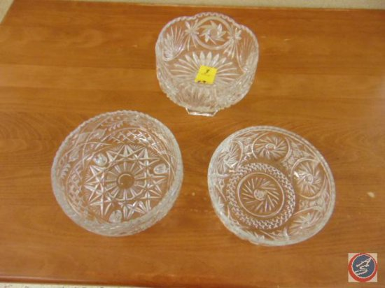 (3) decorative glass bowls (one with pedestal base and one with feet base)