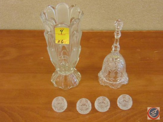 (4) decorative glass candle stick holders, decorative glass bell (with rough edge), decorative glass
