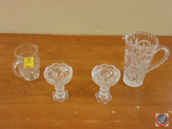 (2) decorative glass pitchers, (2) decorative glass serving dishes on pedestals