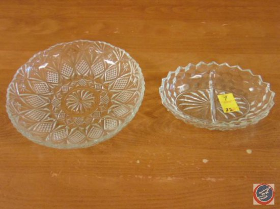 decorative glass platter, decorative glass serving dish with divider