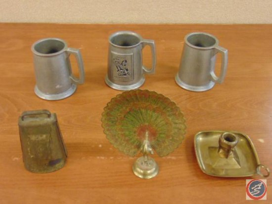 (3) steel mugs, bell, candle stick holder, decorative peacock display