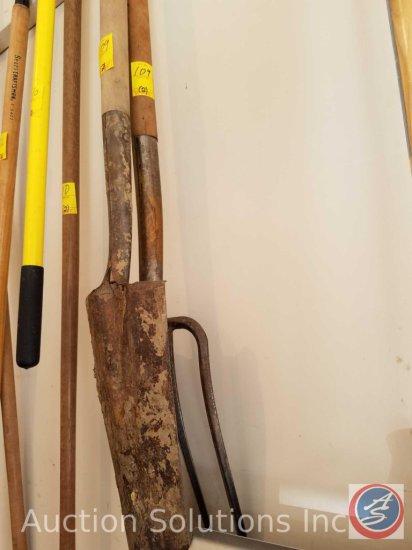 Spade shovel and pitchfork