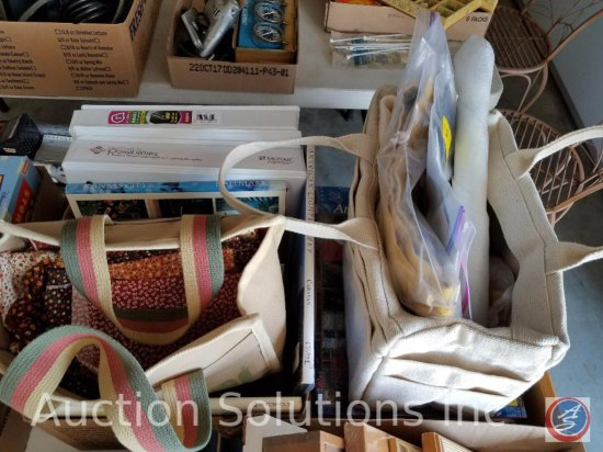 (3) boxes of assorted crafting supplies, cutting boards, and books