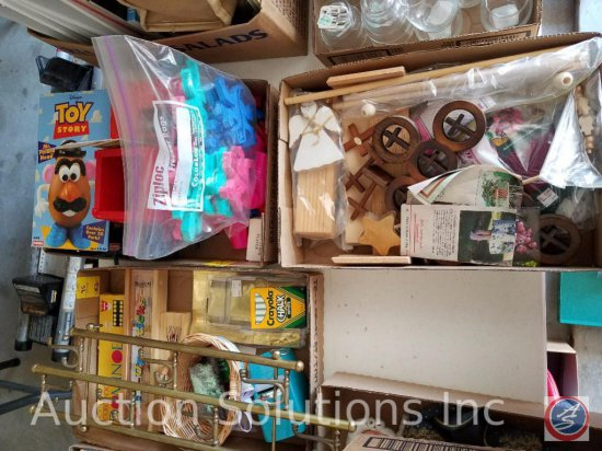 (3) flats containing children's toys, cookie cutters, and crafting supplies