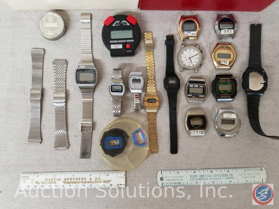 Assorted watch parts including watch faces from brands such as; Criterion, Disco, Timex, Phasar,