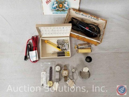 Rotary power tool (make and model are unclear), assorted non-working watches, (2) pocket utility