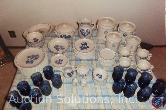 73 piece Pfaltzgraff dinnerware set from 1978- Yorktowne pattern- floral blue
