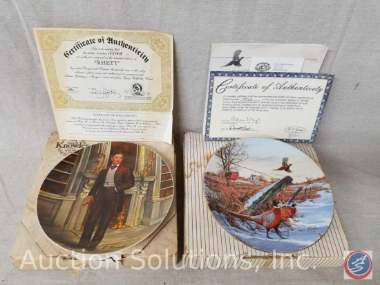 "Knowles collector plate ""Rhett"" #125745B from Gone with the Wind with box and certificate of"