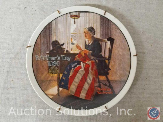 "Knowles collector plate ""A Mother's Pride"" by Norman Rockwell #03536G"" with plate hanger (no box or"