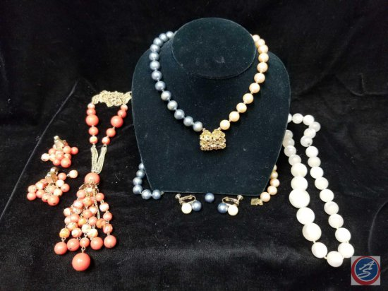 (3) beaded necklaces, (2) with matching clip on earrings