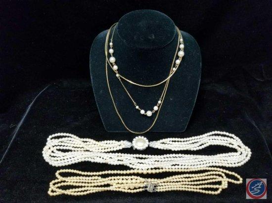 (3) multi strand imitation pearl necklaces