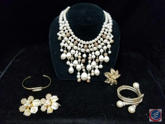 Imitation pearl necklace, pair of floral earrings, (2) bracelets, and brooch