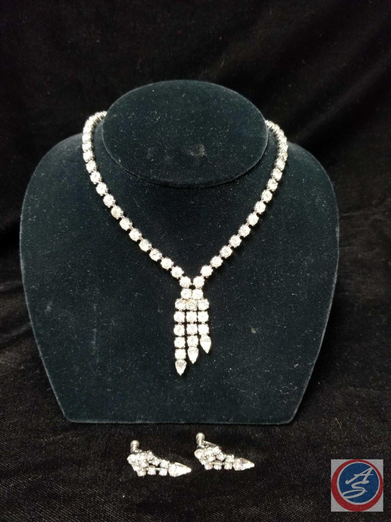 Rhinestone necklace with matching clip on earrings