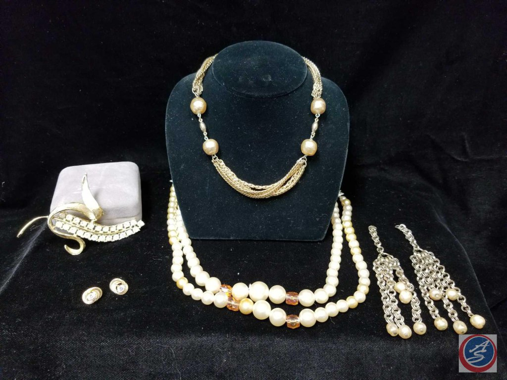 (2) multi strand necklaces, earrings without clips, Corn shaped brooch, and pair of stud earrings