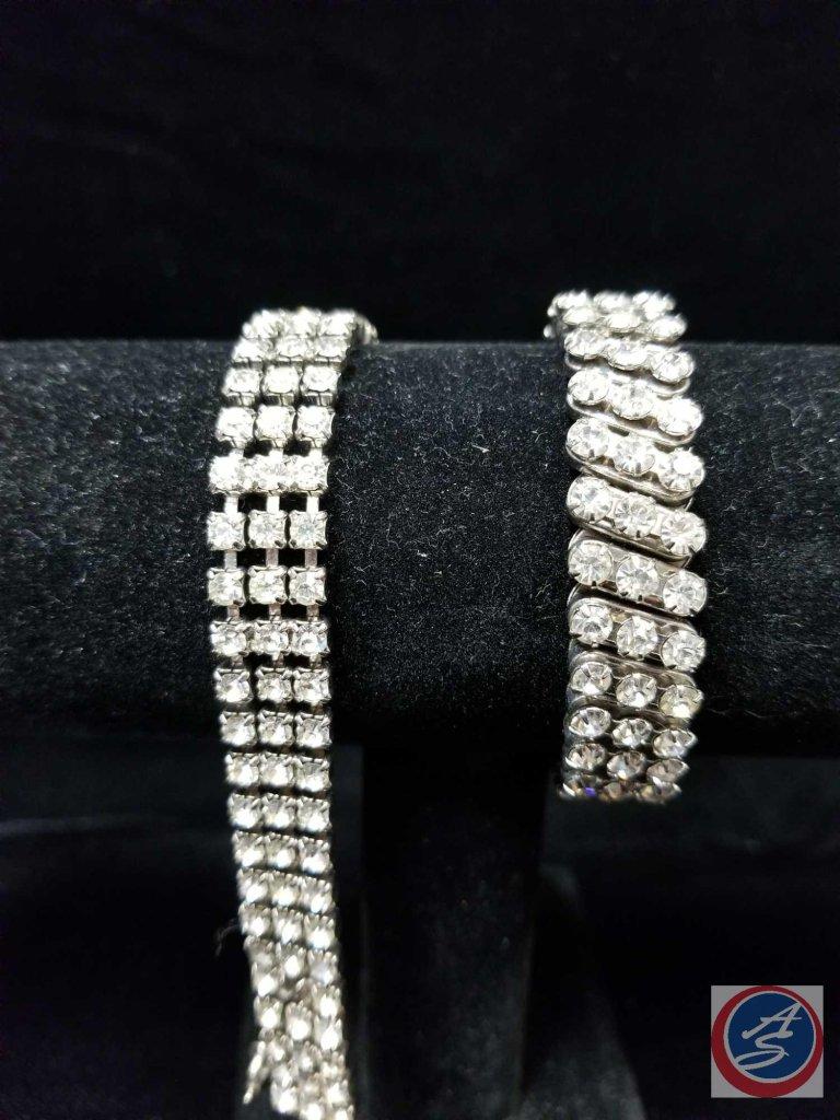 Rhinestone stretch bracelet, and rhinestone clasp bracelet