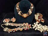 Necklace and clip on earring set, (2) beaded multi strand necklaces, and bracelet