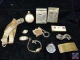 (2) belt clips, pocket watch, monogrammed belt buckle, (2) vintage pocket adress books, and more