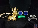 (2) Dotty Smith frog belt clasp, Clip on earrings, and collar necklace