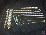 (11) bracelets, gold chain necklace