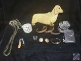 Dachshund beaded coin purse, (7) bangles, Sterling Silver necklace with pendant, clip on earrings,