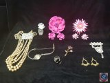 (2) sets of brooches with matching clip on earrings, multi strand necklace, brooches, and more