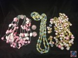 (3) multi strand beaded necklaces