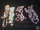 (4) multi strand bead necklaces
