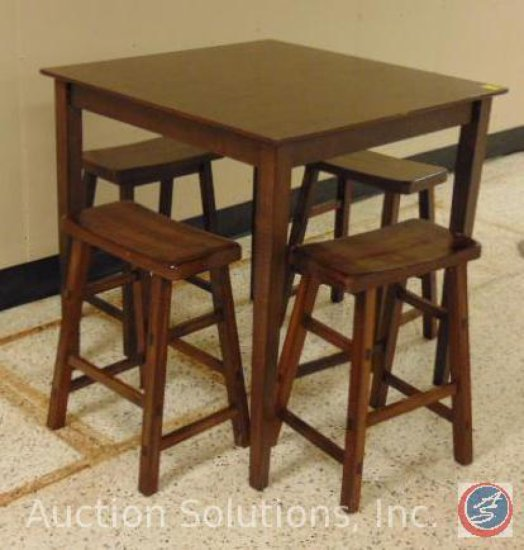 Bistro Wood Table and [4] Stools 35.5 x 35.5 x 36.5 in.