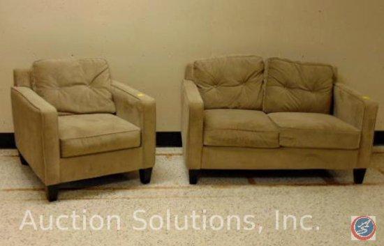 Beige Loveseat 56 x 36 x 31 in.; Chair 32 x 36 x 31 in. {SOLD 2x TIMES THE MONEY}