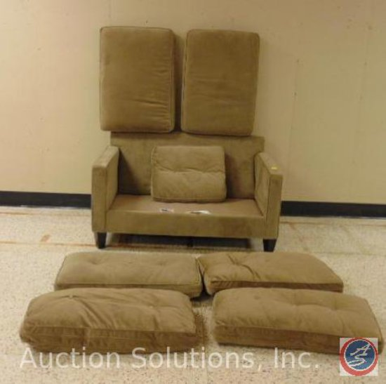 Beige Loveseat Frame w/ [6] Extra Sofa Cushions + a Throw Pillow