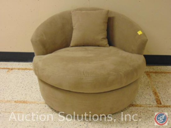 SofaTrend Beige Upholstered Round Swivel Chair 46 x 44 x 31 in.