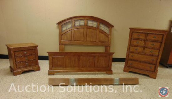 Queen Bed Frame (Head and Foot Board + Rails); Dresser 36 x 18 x 50 in.; Nightstand 26 x 17 x 24 in.